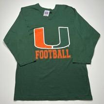 Vintage 90s Miami Hurricanes Football The U 3/4 Long sleeve T shirt Jers... - £21.54 GBP