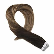 Moresoo 20 Inch Tape in Human Hair Extensions Glue on Hair Balayage Color Off Bl image 4