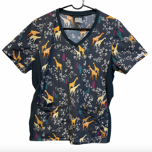 Cherokee Medium Flexibles Gray Scrub Shirt Yellow Giraffe Nurse Vet Tech Xray  - $17.99