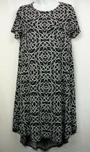LULAROE Carly Hi Low Swing Dress Black White Geometric Design Womens Size XS - $14.49