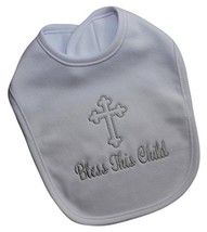 Baptism Bib Embroidered with Bless This Child Christening Keepsake by Funny Girl