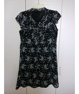 H&M LADIES BLACK SHEER LINED FLORAL DRESS-2-TIER CAP SLEEVE-14-BARELY WO... - $7.91