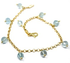 18K YELLOW GOLD BRACELET, OVAL FACETED AQUAMARINE PENDANT, ROLO LINKS 2.5mm image 2