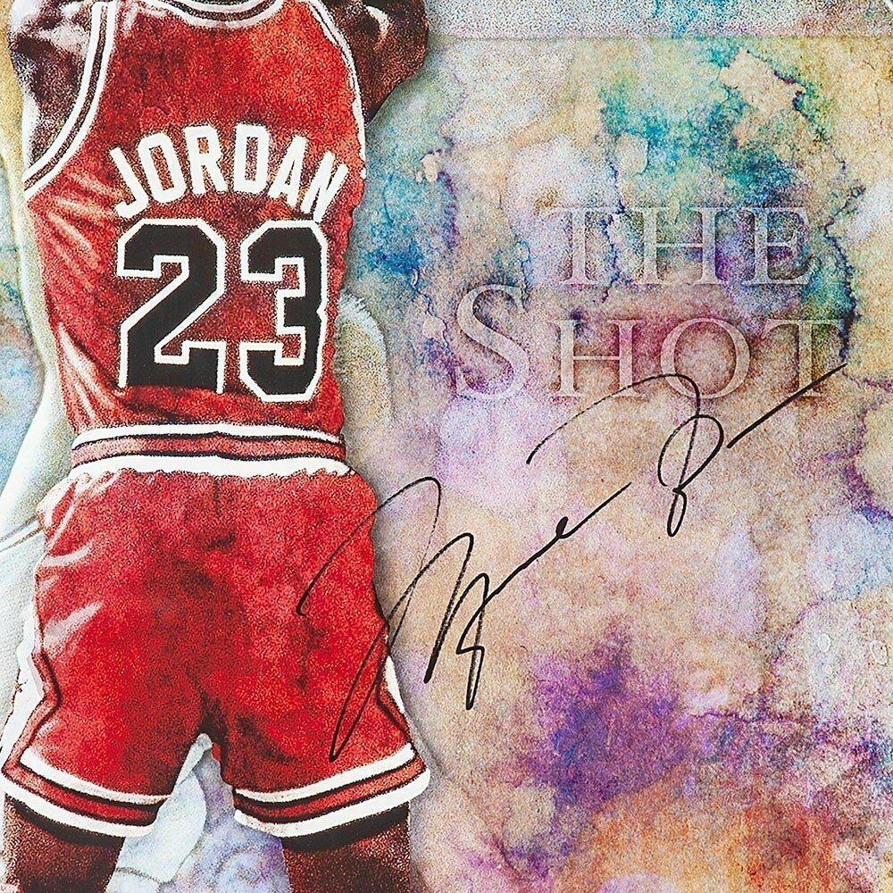 "MICHAEL JORDAN Signed Chicago Bulls ""THE SHOT"" 24 X 36 LE to 123 UDA."