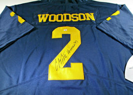 CHARLES WOODSON / AUTOGRAPHED MICHIGAN WOLVERINES BIG TEN PRO STYLE JERSEY / COA image 1