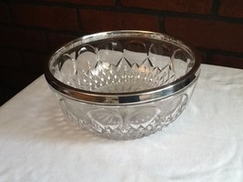 Cut Glass Bowl with Silver-Plate Rim - Germany - Vintage - $15.85
