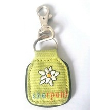 Sherpani Earth Friendly Fabric Purse/Bag Charm Keychain Green White Flower  - $9.65