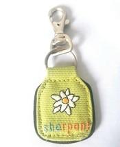Sherpani Earth Friendly Fabric Purse/Bag Charm Keychain Green White Flower  - $9.65
