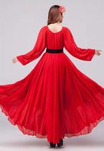 Lady Plus Size Long Chiffon Dress Oversized Summer Holiday Dress,Long Sleeve,Red image 3