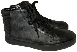 GUCCI Men's Common' High Top Sneakers Black Leather Shoe 7 Uk- 8 US - $330.00