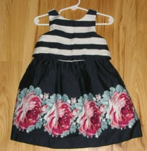 JANIE AND JACK AUTUMN ROSE NAVY BLUE WHITE STRIPE EASTER DRESS FLORAL 18-24 - $49.49