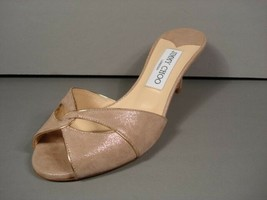 Jimmy Choo Lopez Light Gold Sand Shimmer Authentic Sandals Slides Mules ... - $279.80
