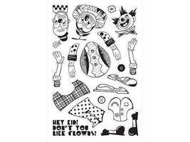 BasicGrey Build-a-Clown Clear Cling Stamp Set #STA1210