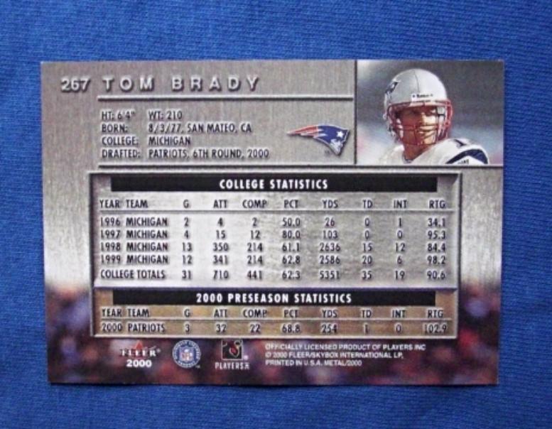 2000 Fleer Metal Football #267 Tom Brady [New England Patriots] Rookie RP