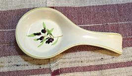 Vintage STONEWARE Purple Berries Design Spoon Rest Retro Kitchen - $7.25
