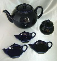 PRISTINE Navy Blue Glazed Ceramic Teapot, Sugar Bowl Pot & (3) Tea Bag H... - $34.20
