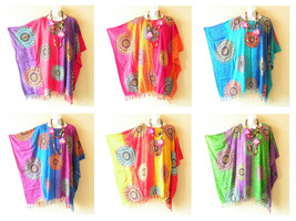 Batik Medallion Tie Dye Plus Kaftan Poncho Tunic Women Blouse Top 1X, 2X, 3X, 4X - $24.90