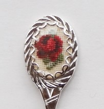 Collector Souvenir Spoon Merry Christmas Petit Point Red Rose Emblem - $6.99