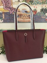 KATE SPADE ADEL LARGE TOTE SHOULDER BAG CHERRYWOOD LEATHER LAPTOP CARRYA... - $128.69