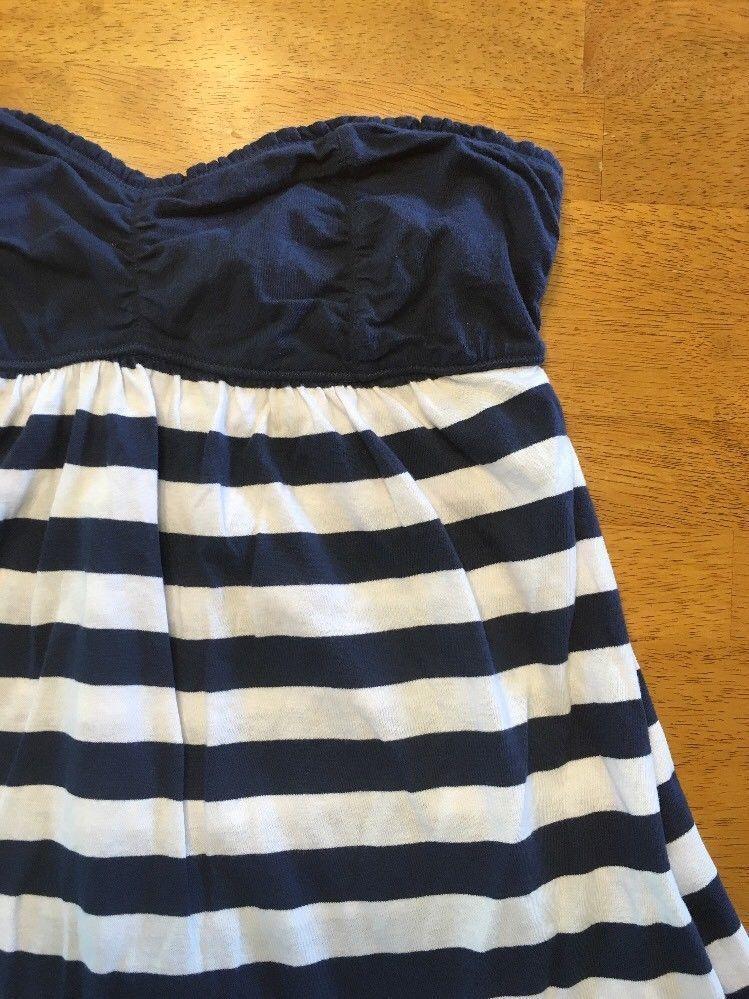 Abercrombie New York Blue & White Striped Girls Tube Top Shirt - Size: XL image 4