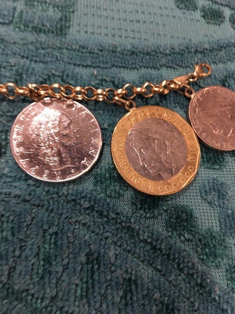 "Vermeil Bracelet Lira Coin Charms 7"" Charm Bracelet From Macy's"