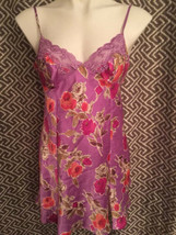 Victorias Secret Purple Floral S Small Nightie Night Gown Satin - $20.73