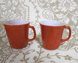 Set of Two  Corning Ware NY Burnt Orange Cinnamon D Handle Mugs 8 oz - $23.09