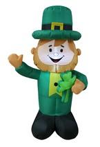 Saint Patrick's Day Inflatable Leprechaun Holding Shamrock Yard Lawn Dec... - $59.00