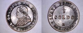 1867-XXIR Italian States Papal States 1/2 Soldo World Coin - Pius IX - $34.99