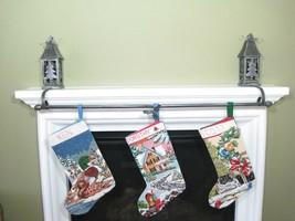 "Metal Lantern Christmas Stocking Holder with 44"" Hanging Bar Holiday Decor - £33.12 GBP"
