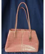 FOSSIL 1954 Leather Purse Handbag Pink / Mauve / Dusty Rose Croc 2 Handl... - $40.00