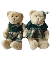 Vtg Plush Bears Couple Velvet Plaid Irish Green Teddy Stuffed Pair Dillards - $25.73