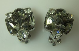 Vintage Earrings Rhinestone Clip 2 Color Clear & Smoky Quartz Silver-ton... - $10.93
