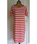 Michael Kors Striped T-Shirt Dress S Red White Cotton Sheath Logo NWT - $39.95