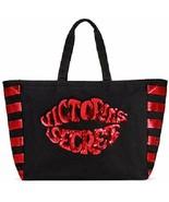 Victorias Secret Bling Weekender Tote Bag, Black Red Sequins Lips Kiss - $19.75