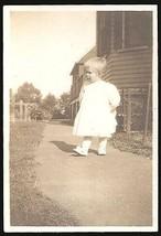 Darling Little Girl White Dress Sidewalk Shadow Explores World Antique P... - $14.99