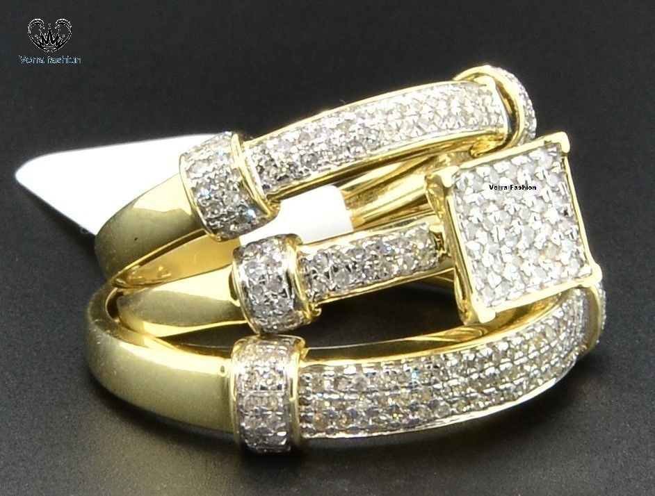 Diamond His & Hers Trio Set Engagement Ring Wedding Band 10K Yellow Gold Plated