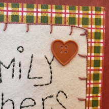 """Wooden Plaque """"Family Gathers Here"""", fall harvest country decor, fabric buttons image 4"""
