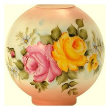 """9""""W Pink Rose Flowers Ball Glass Lamp Shade - $319.99"""