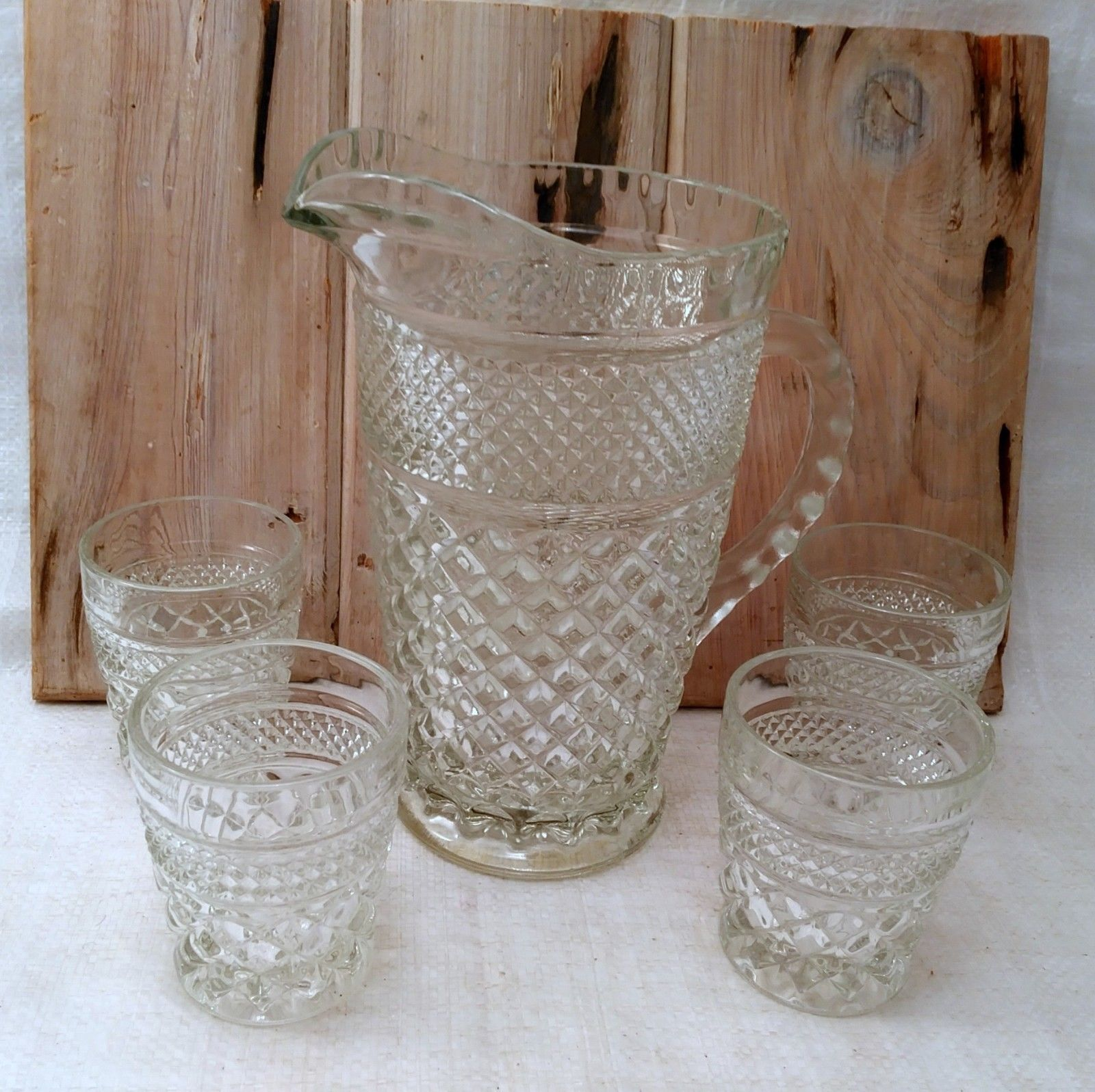 "5 Anchor Hocking Wexford ""On the Rocks"" old fashioned glasses and Pitcher"