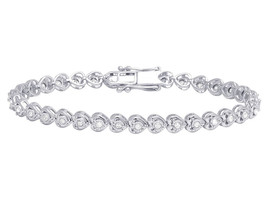 Ladies 14K White Gold Plated Sterling 1Ct Round Cut Diamond Heart Link B... - $138.99