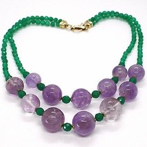SILVER 925 NECKLACE, DOUBLE ROW, SPHERES AMETHYST LARGE, CHALCEDONY GREEN image 2