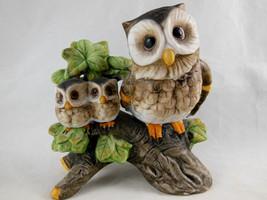 """Vintage Ardco Korea Figurine Mother & Baby Owls Porcelain 4.25"""" Precious - $11.87"""