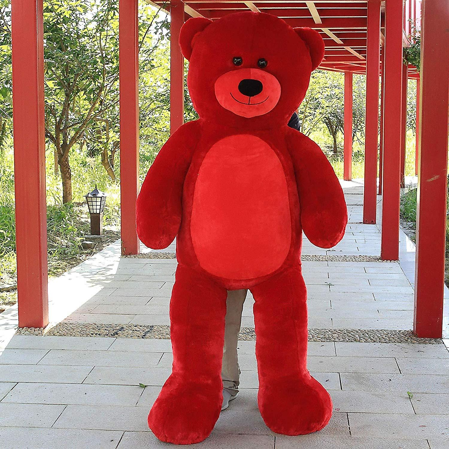"WOWMAX Unique Red Teddy Bear 72"" Giant Jumbo Stuffed Plush Animal Toy Gift Bear"