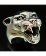 Detailed Sterling silver Animal ring Panther head high polished and anti... - $114.00