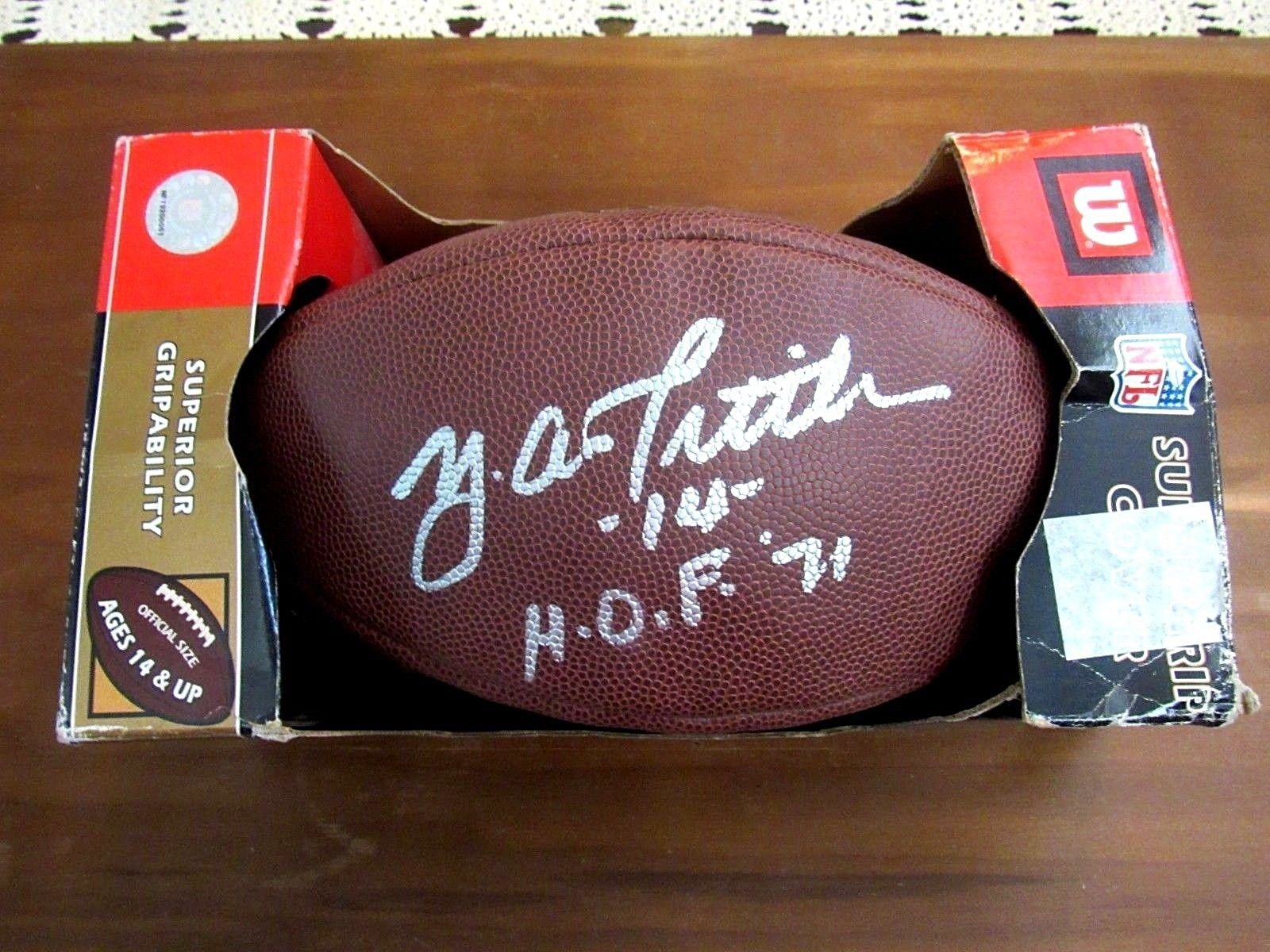 Primary image for Y.A. TITTLE # 14 HOF 71 49ERS GIANTS QB SIGNED AUTO WILSON NFL FOOTBALL PSA/DNA