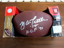YA TITTLE # 14 HOF 71 49ERS GIANTS QB SIGNED AUTO WILSON NFL FOOTBALL PS... - $296.99