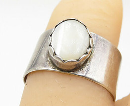 SOUTHWESTERN 925 Silver - Vintage White Cat's Eye Cocktail Ring Sz 7 - R... - $25.90