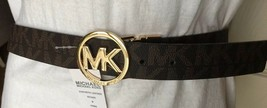 MICHAEL KORS BELT REVERSIBLE CHOCOLATE/ BLACK LOGO GOLD CIRCLE BUCKLE MK... - $38.69