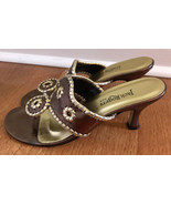 Jack Rogers Maggie Kitten Heel 6.5M Bronze gold 3 inch heel navajo - $24.72